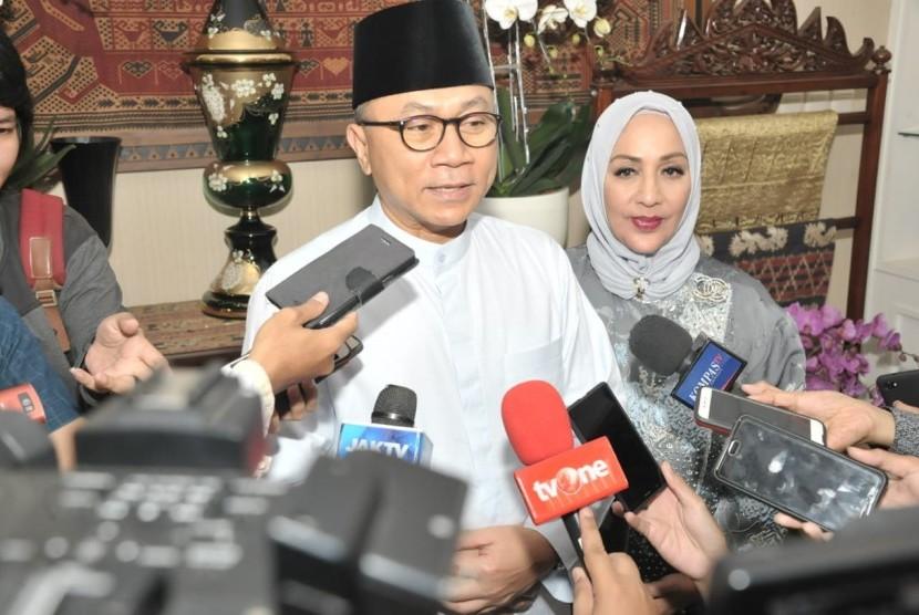 Ketua MPR Zulkifli Hasan saat halal bihalal Idul Fitri, Jumat (15/6).
