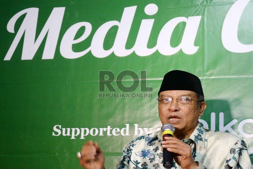Ketua PBNU Said Aqil Siradj memberikan keterangan kepada wartawan terkait Muktamar NU ke-33 di Jombang, Jawa Timur, Senin (3/8).
