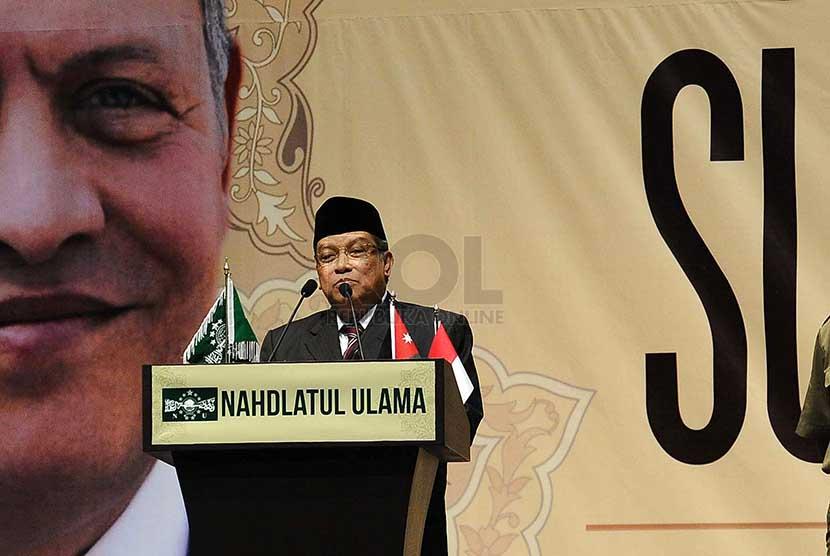 Ketua PBNU Said Aqil Siraj berbicara saat membuka Nadhlatul Ulama Sufi Gathering di Jakarta, Rabu (26/2).