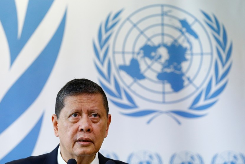Ketua Tim Pencari Fakta PBB untuk Myanmar, Marzuki Darusman, memberikan konferensi pers seusai menyampaikan laporannya dalam sidang 36 Dewan HAM PBB di Jenewa, Swiss, Selasa, (19/9).