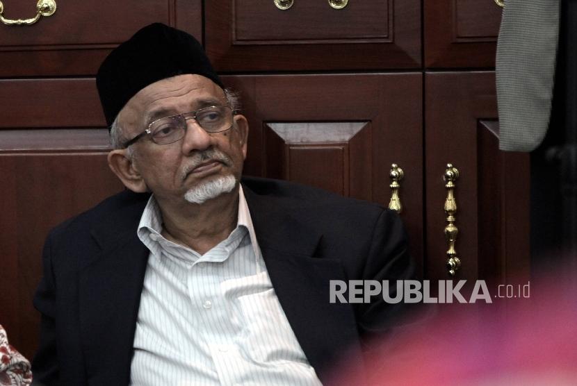 Ketua Umum Dewan Dakwah Mohammad Siddik saat menghadiri pengajian kebangsaan bertajuk Perspektif Islam Dalam Menyikpi Dinamika Politik Ekonomi Nasional dan Global di Jakarta, Kamis (9/3).