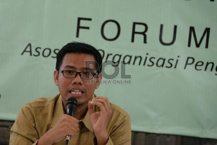 Ketua Umum Forum Zakat (FOZ) Nur Efendi saat konferensi pers ramadhan di Jakarta, Selasa (7/7).