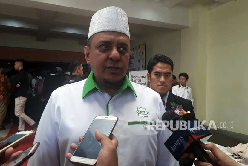 Ketua Umum GNPF Ulama Yusuf Martak hadir di Konsolidasi Nasional PKS, di Hotel Bumi Wiyata, Depok, Jawa Barat, Ahad (14/10).