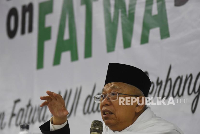 Ketua Umum Majelis Ulama Indonesia (MUI) KH Ma'ruf Amin menjadi pembicara kunci pada Annual Conference on Fatwa Studies dengan tema Peran Fatwa MUI dalam Berbangsa dan Bernegara di Depok, Jawa Barat, Kamis (26/7).