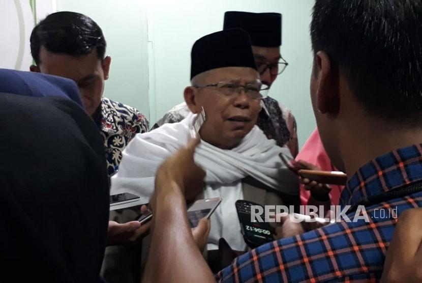 Ketua Umum MUI KH Ma'ruf Amin di kantor MUI pusat, Jakarta, Selasa (12/6).