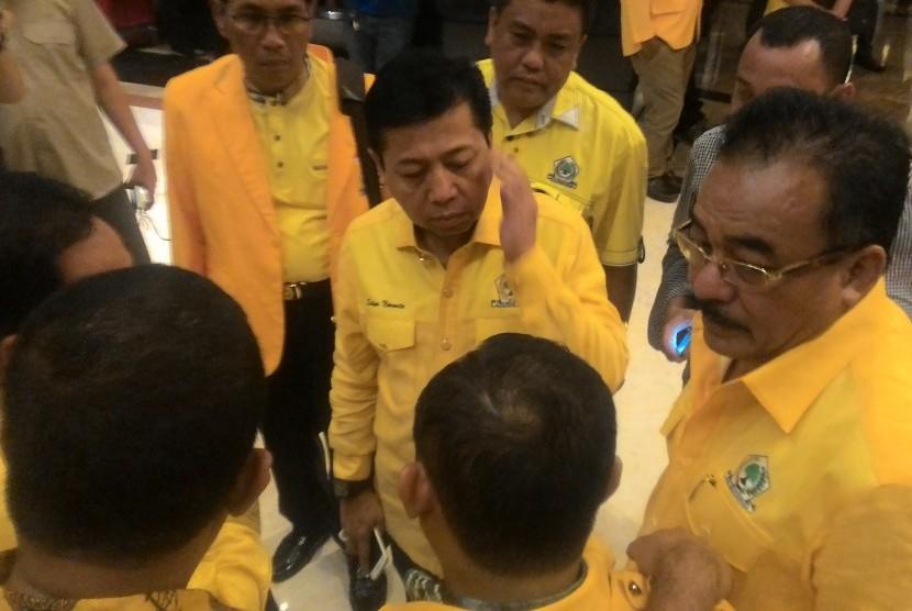 Ketua Umum Partai Golkar Setya Novanto pada acara Rapat Koordinasi Teknis (Rakornis), di Hotel Peninsula, Jakarta pada Jumat malam (2/9).