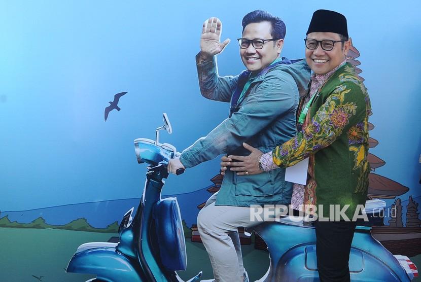 Ketua Umum Partai Kebangkitan Bangsa (PKB) Muhaimin Iskandar berfoto menjelang pembukaan Muktamar V PKB di Nusa Dua, Badung, Bali, Selasa (20/8/2019).