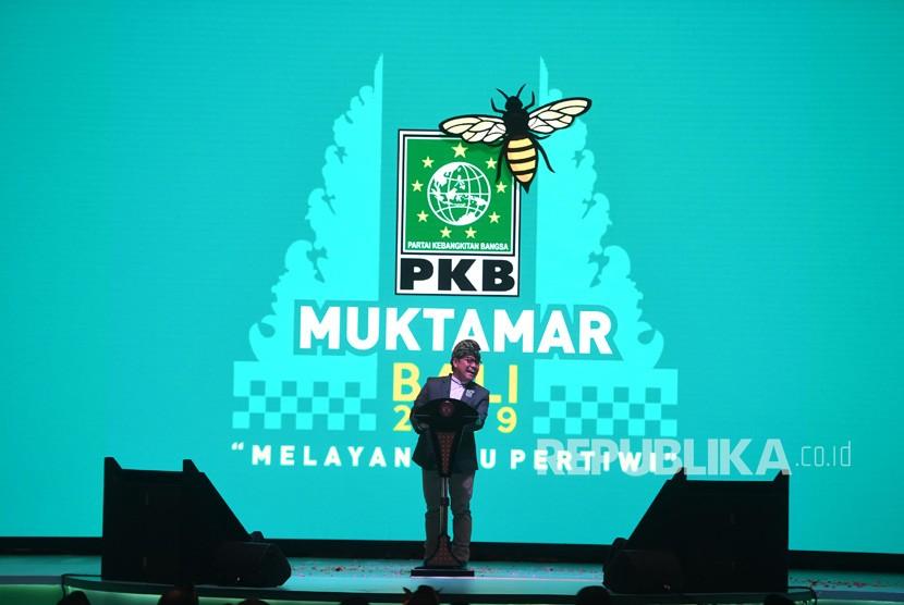 Ketua Umum Partai Kebangkitan Bangsa (PKB) Muhaimin Iskandar memberikan sambutan dalam Muktamar V PKB di Bali, Selasa (20/8/2019).