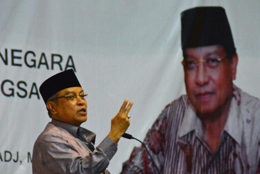 Ketua Umum Pengurus Besar Nahdlatul Ulama (PBNU) KH Said Aqil Siroj saat memberikan kuliah umum di Universitas Negeri Semarang (Unnes) di Semarang, Jateng, Sabtu (16/4).