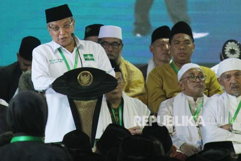 Munas NU. Ketua Umum Pengurus Besar Nahdlatul Ulama (PBNU) KH Said Aqil Siradj memberikan sambutan pada acara Musyawarah Nasional Alim Ulama dan Konferensi Besar NU, di Pompes Miftahul Huda Al-Azhar Citangkolo, Kota Banjar, Jawa Barat, Rabu (27/2).