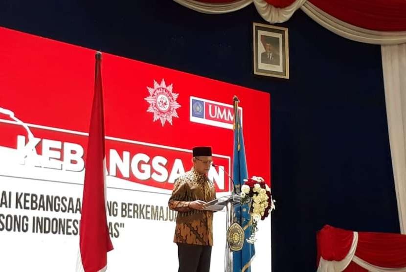 Ketua Umum Pimpinan Pusat Muhammadiyah, Haedar Nashir dalamPidato Kebangsaan Muhammadiyah dalam rangka menyambut HUT RI ke-73 di Universitas Muhammadiyah Malang (UMM), Ahad (12/8)