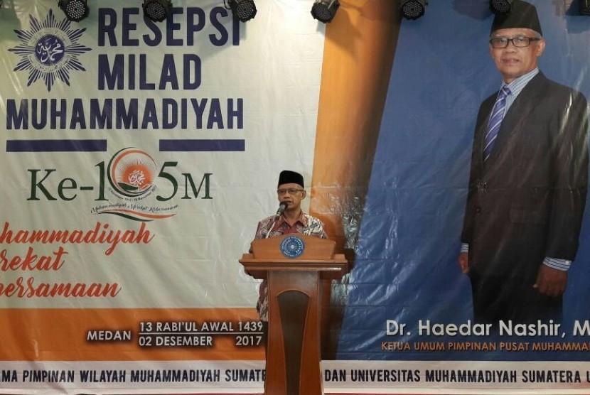 Ketua Umum Pimpinan Pusat (PP) Muhammadiyah, Haedar Nashir, dalam Resepsi Milad Muhammadiyah Ke-105 di Medan, Sabtu (2/12) malam.
