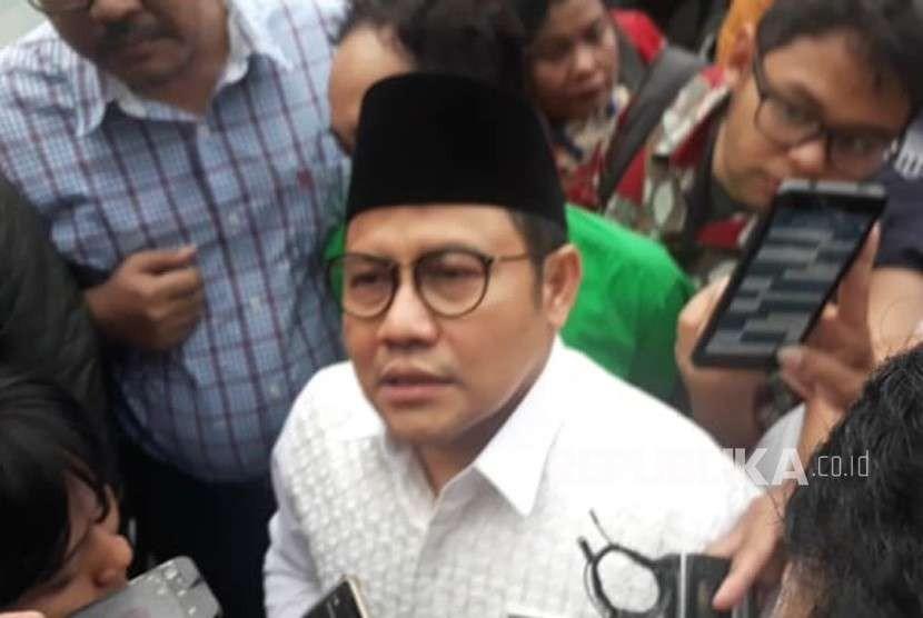 Ketua Umum PKB Muhaimin Iskandar saat hadir dalam pertemuan Presiden Jokowi dengan partai koalisi di Restauran Plataran, Menteng, Jakarta, Kamis (9/8).