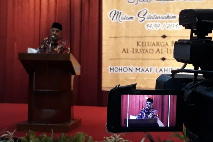 Ketua Umum PP Al-Irsyad Al-Islamiyyah, Dr Faisol N Bin Madi berpidato di Malam Silaturrahim Idul Fitri 1439 H di Balai Pertemuan Langen Palikrama, Jakarta, Selasa (11/7) malam.