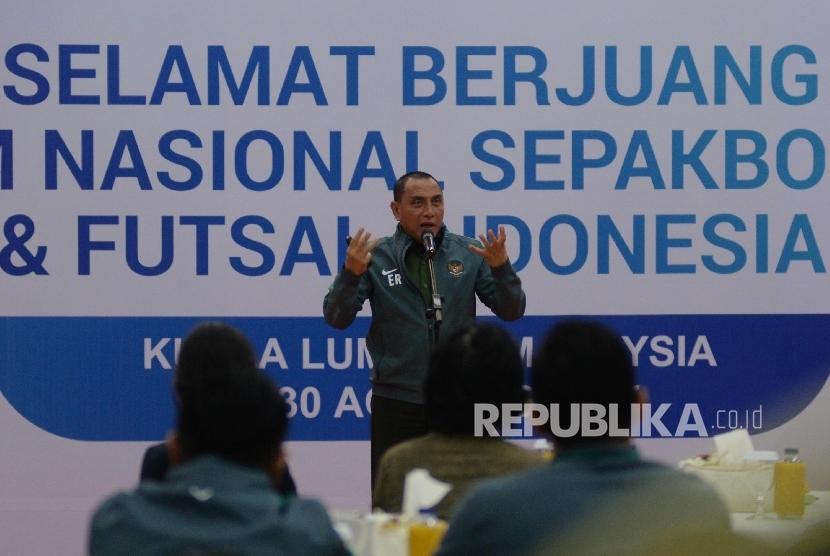 Ketua Umum PSSI Edy Rahmayadi menyampaikan sambutan ketika pelepasan Timnas U-22 di Jakarta, Kamis (10/8).