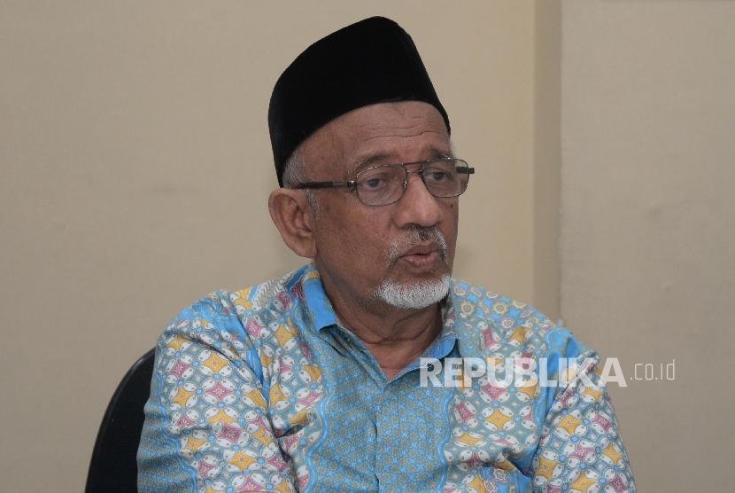 Ketum Dewan Dakwah Islamiyah Indonesia (DDII) Muhammad Siddik bersama tim DDII bertemu tim redaksi Republika di Kantor Republika, Jumat (16/12).