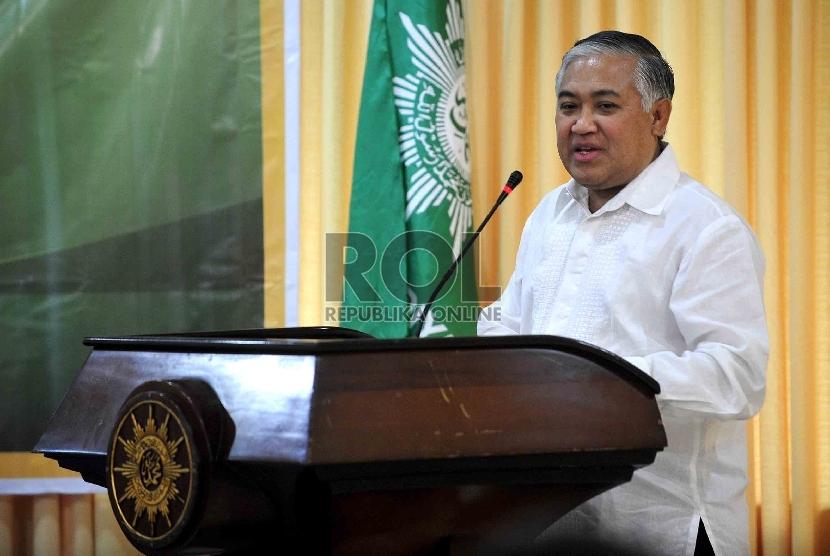 Ketum PP Muhammadiyah Din Syamsuddin memberikan sambutannya usai penandatanganan nota kesepahaman bersama di gedung PP Muhammadiyah, Jakarta, Jumat (16/11).