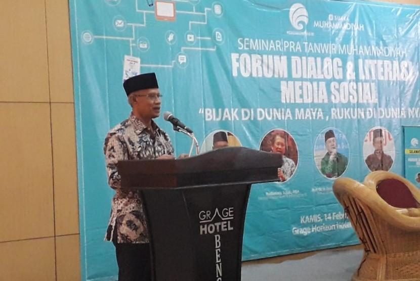 Ketum PP Muhammadiyah Haedar Nashir berpidato di Seminar Pra-Tanwir Muhammadiyah di Bengkulu, Kamis (14/2).