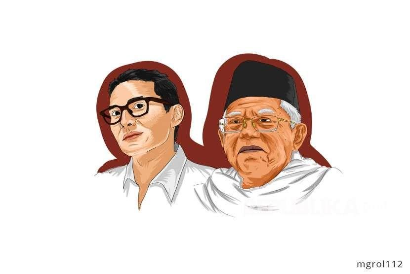 KH Ma'ruf Amin dan Sandiaga Uno