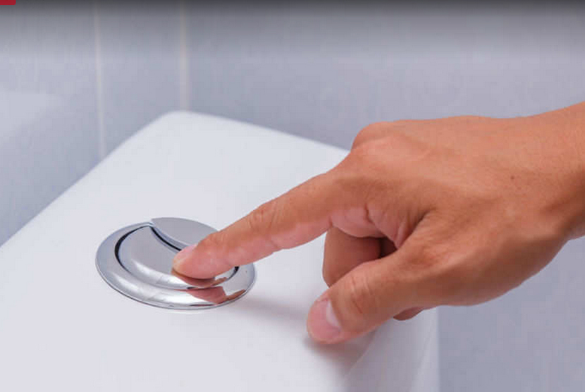Kloset dengan tombol dual flush.