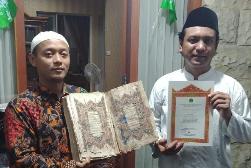 Kolektor dan pecinta manuskrip Nusantara asal Sidoarjo, Jawa Timur, Erwin Dian Rosyidi menyerahkan sembilan mushaf dan manuskrip kuno ke Bayt Alquran dan Musemum Istiqlal (BQMI) Lajnah Pentashihan Mushad Alquran (LPMQ) Kementerian Agama.
