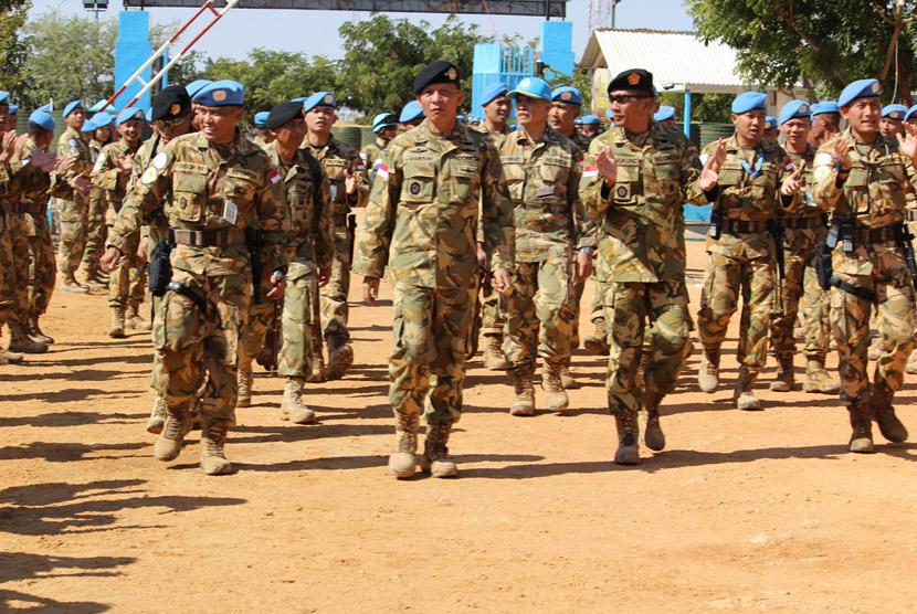 Pasukan Garuda Satgas Batalyon Komposit TNI Konga XXXV-B/Unamid atau Indonesian Battalion (Indobatt-02), yang sedang bertugas menjaga perdamaian dan keamanan di Darfur, Sudan (Ilustrasi)