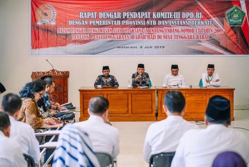 Komite III Dewan Perwakilan Daerah (DPD) RI melakukan pengawasan haji di Provinsi Nusa Tenggara Barat (NTB).