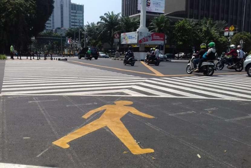 Kondisi Pelican Crossing dan Halte Transjakarta Bank Indonesia, Jumat (7/9).
