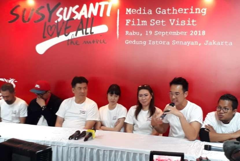 Konferensi pers film Susy Susanti: Love All di Gedung Istora Senayan, Jakarta, Rabu (19/9).