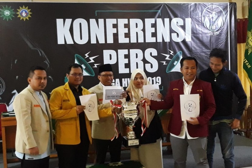 Konferensi pers Liga Hizbul Wathon di Kantor PP Muhammadiyah, Menteng, Jakarta Pusat pada Kamis (8/8).