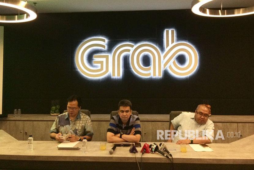 Konferensi pers oleh Grab Indonesia terkait aksi demo para driver akibat akun mereka yang di suspend secara tiba-tiba, Kamis (6/7) siang.