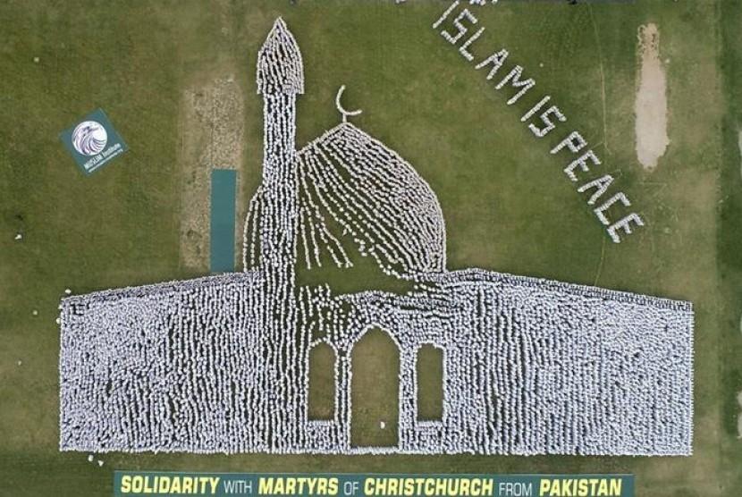 konfigurasi gambar Masjid Al Noor Christcurch yang dibentuk ribuan warga Pakistan