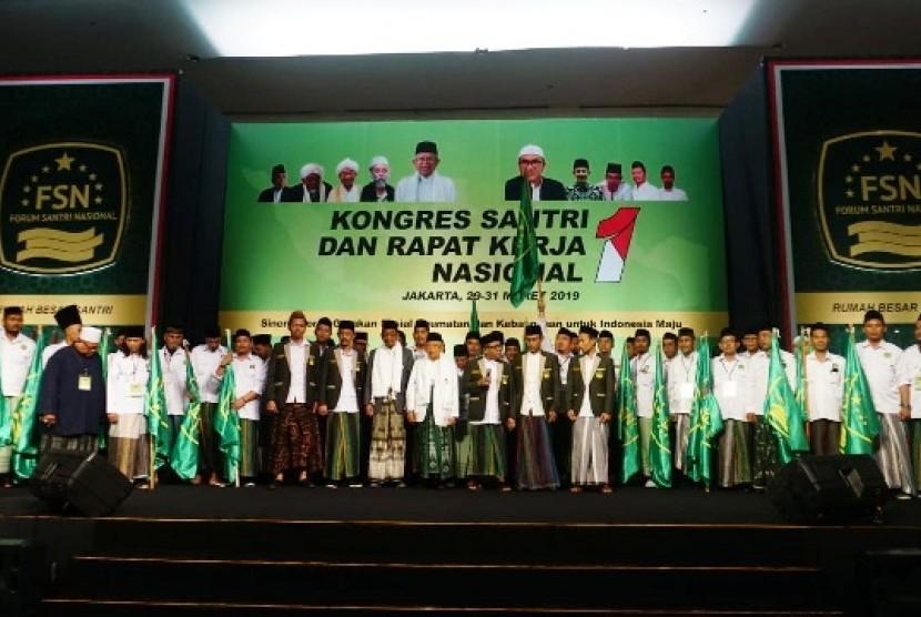 Kongres Santri dan Rapat Kerja Forum Santri Nasional (FSN) I di Jakarta Convention Center (JCC), Sabtu (30/3)