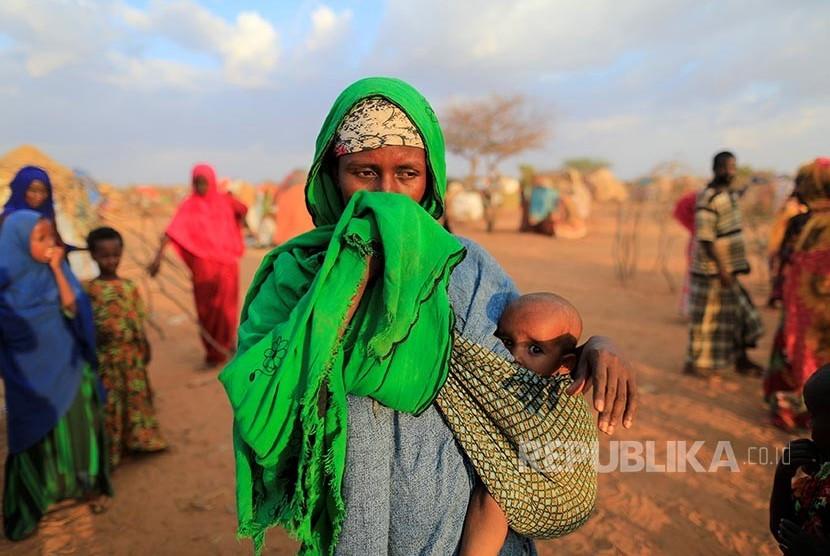 Korban kekeringan Somalia di permukiman pengungsi sementara di daerah Dollow, Somalia (ilustrasi)