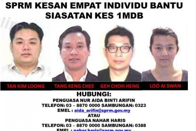 KPK Malaysia (MACC) merilis empat nama yang menjadi buronan yang diduga terlibat dalam skandal 1MDB, Senin (11/6).