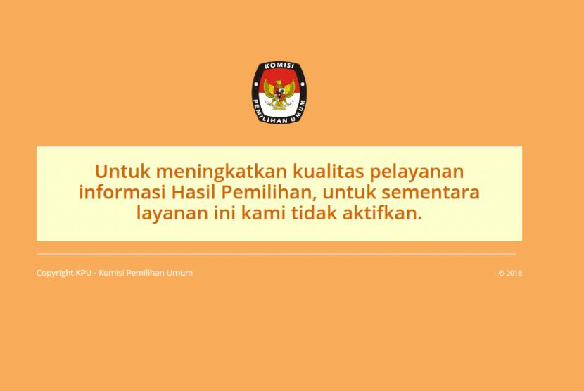 KPU untuk sementara tak mengaktifkan hasil hitung cepat Pilkada Serentak 2018.