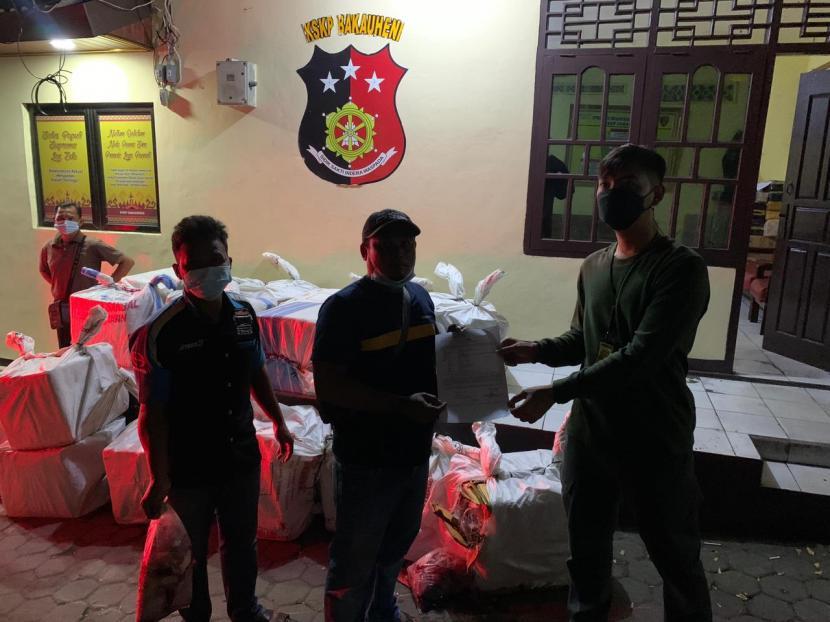 KSKP menyita 18 karung daging babi tanpa dokumen di pintu masuk Pelabuhan Bakauheni, Lampung, Kamis (29/7) pukul 23.30.