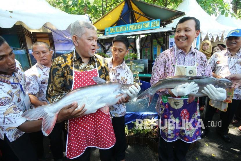 Sekda Jabar Iwa Karniwa (kanan) dan Kepala Dinas Kelautan dan Perikanan Jabar Jafar Ismail menggendong ikan patin pada Festival Lauk Juara dalam acara Gedung Sate Fest, di halaman belakang, Gedung Sate, Kota Bandung, Jumat (16/11).