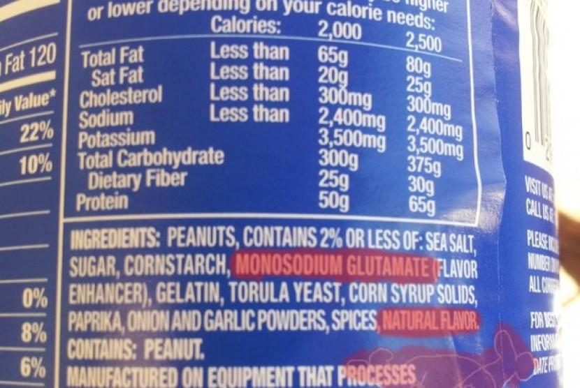 Label makanan mengandung Monosodium Glutamat (MSG)