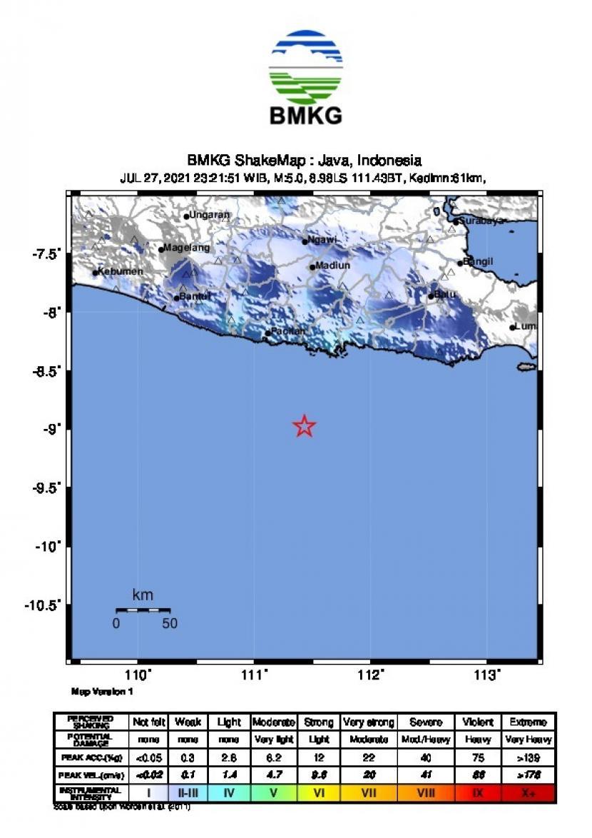 Laporan gempa yang terjadi di Kabupaten Pacitan, Jawa Timur pada Selasa (27/7) sekitar pukul 23.21 WIB.