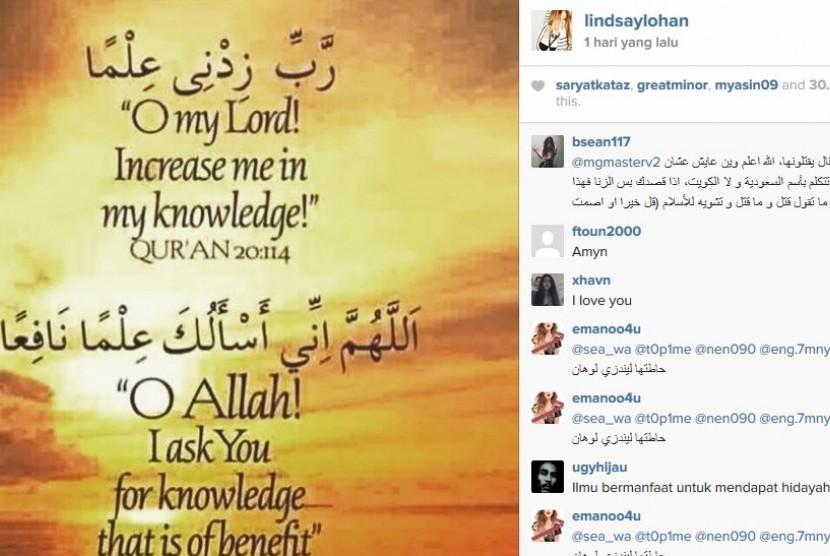 Lindsay Lohan menampilkan Surat Taha Ayat 114
