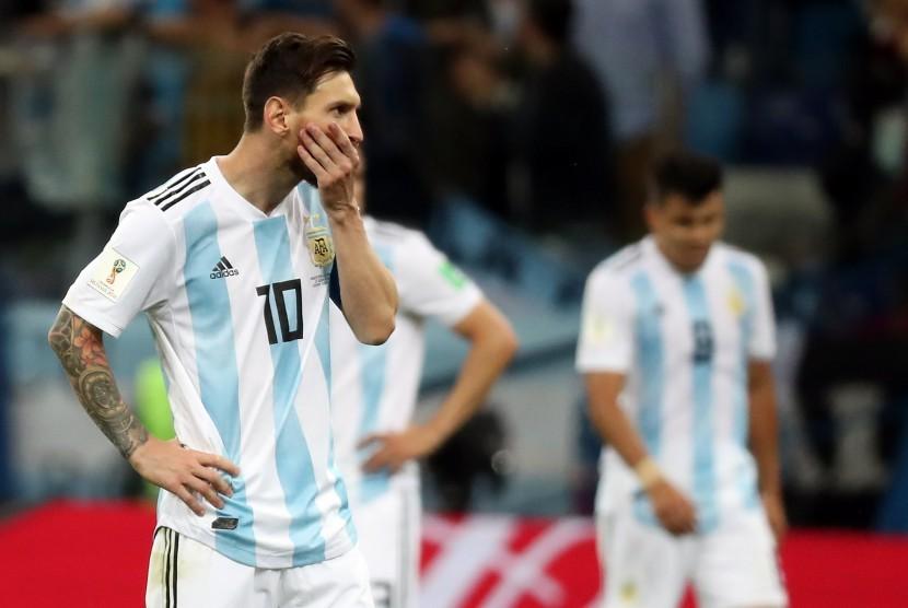 Lionel Messi dan rekan-rekannya menyesali kekalahan Argentina 0-3 dari Kroasia pada Piala Dunia 2018.