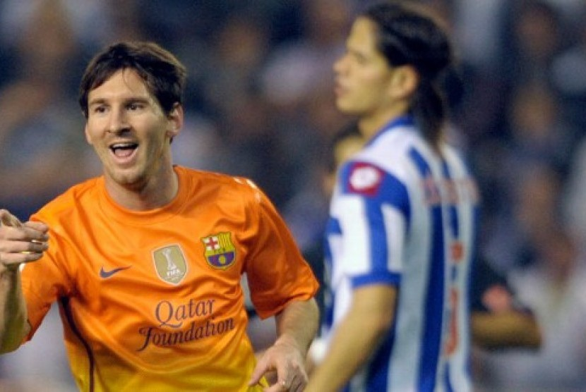 Lionel Messi usai mencetak gol ke gawang Deportivo La Coruna, Ahad (21/10) pagi.