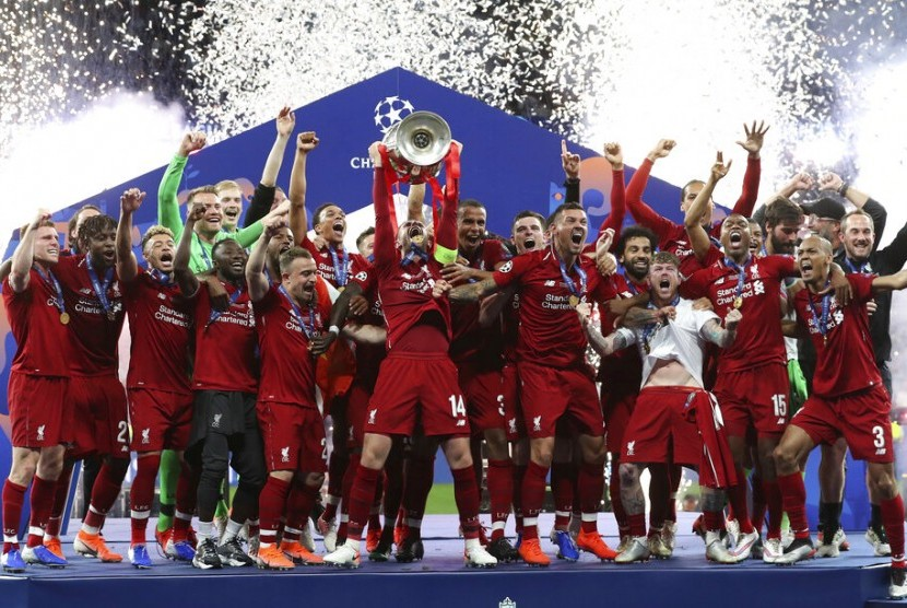 Liverpool merayakan juara Liga Champions 2018/2019.