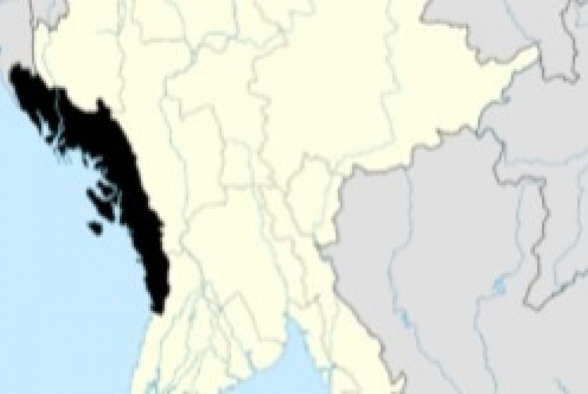 Location of Rakhine State in Myanmar