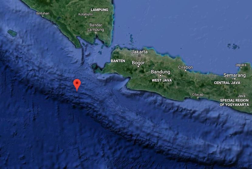 Lokasi gempa bumi berkekuatan magnitudo 7,4 berpusat di wilayah perairan Banten.