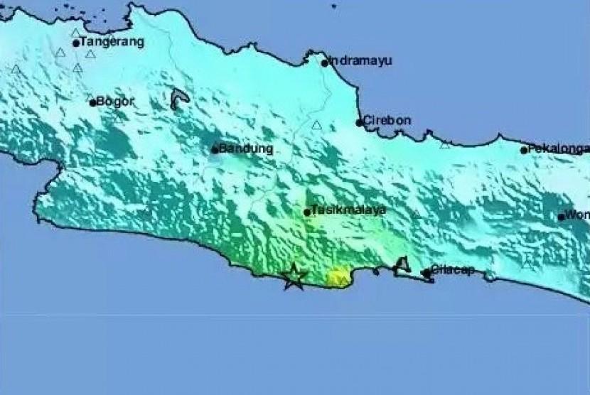 Lokasi gempa di Sukabumi (ilustrasi)