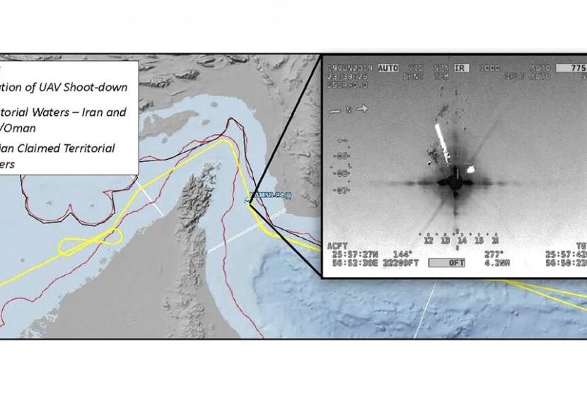 Lokasi jatuhnya drone AS RQ-4A Global Hawk yang ditembak Iran di Selat Hormuz pada 20 Juni 2019. Gambar tersebut dirilis, Jumat (21/6).