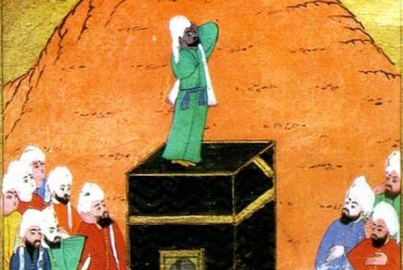 Lukisan Bilal tengah adzan. Sebuah karya lukisan pada abad ke 14.