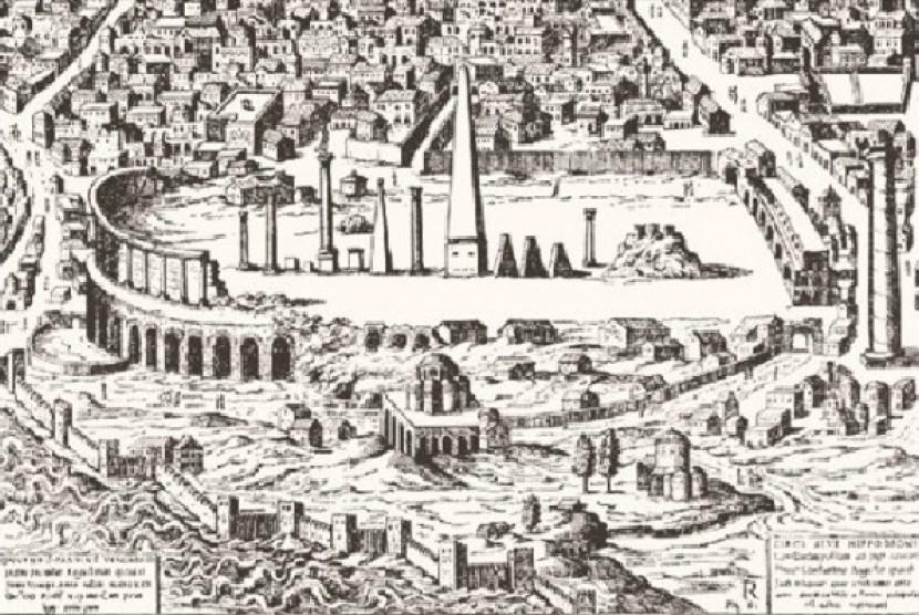Lukisan kota Konstantinopel saat dibangung Kaisar Konstantin